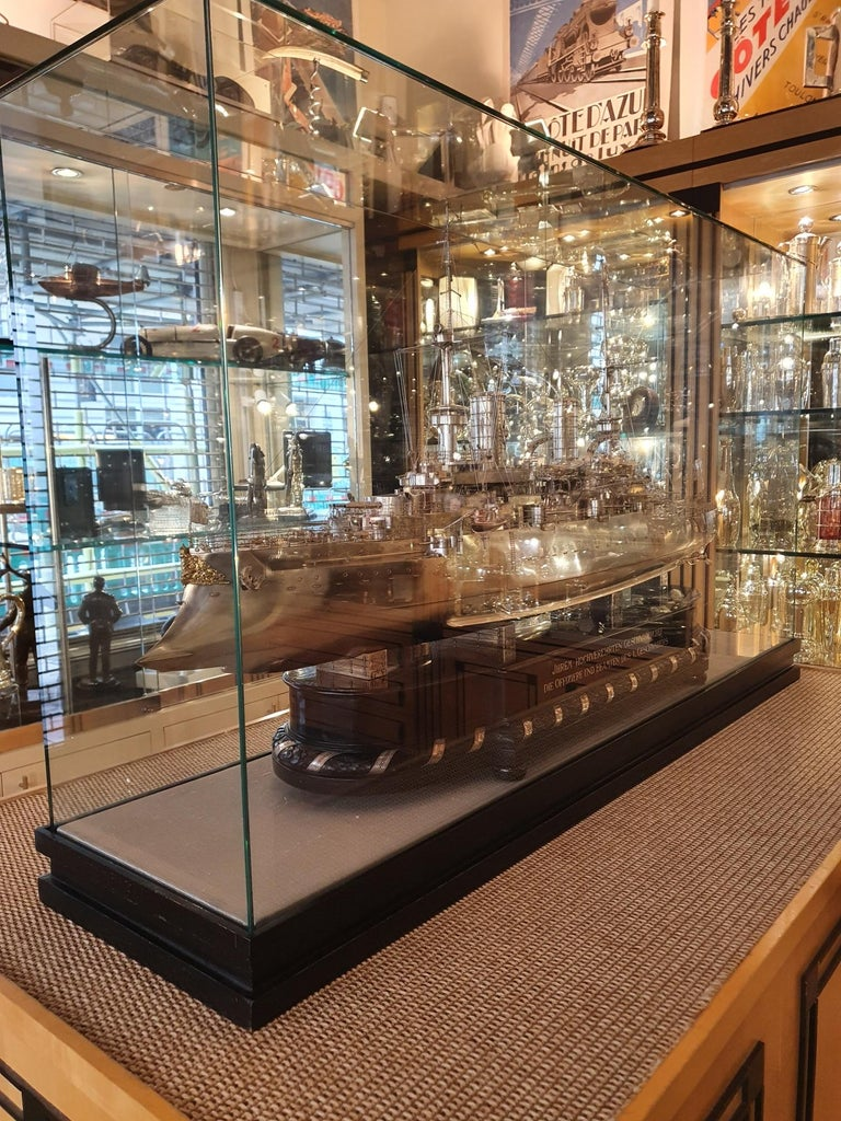 German Massive Silver Battleship Model of the Kaiser Friedrich III, 1903 For Sale