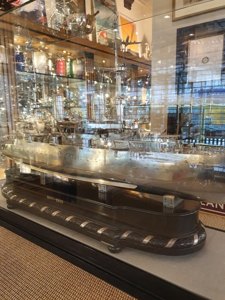 Early 20th Century Massive Silver Battleship Model of the Kaiser Friedrich III, 1903 For Sale
