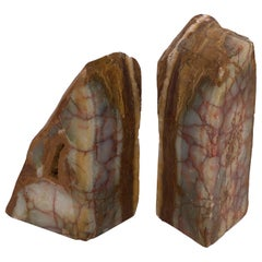 Massive Solid Raw Semi-Polished Marble Bookends