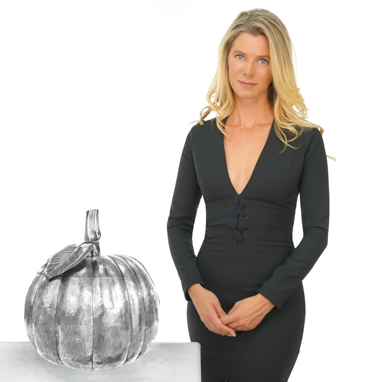 Sterling, by Fratelli Cacchione, Milan, Italy, circa 1960s-1970s. Known for his fabulous sterling pumpkins, 5th generation Italian silversmith Fratelli Cacchione is easily the most renowned silver maker of his generation. Combining old-world