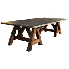 Massive Stone Top Trestle Table