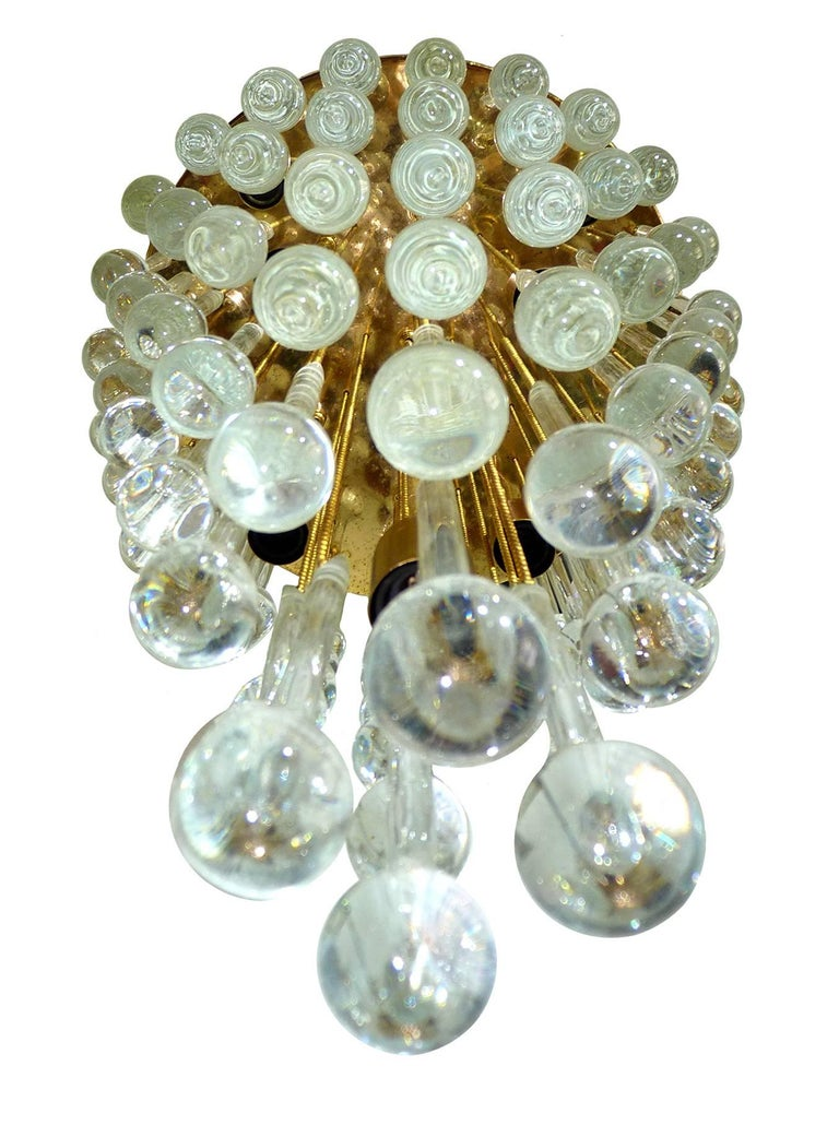 German Massive Murano Crystal Glass Drop Waterfall & Gilt Brass Venini Style Chandelier For Sale