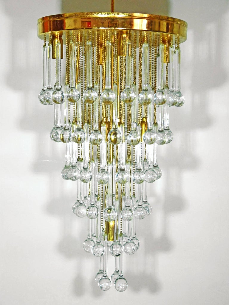 Late 20th Century Massive Murano Crystal Glass Drop Waterfall & Gilt Brass Venini Style Chandelier For Sale