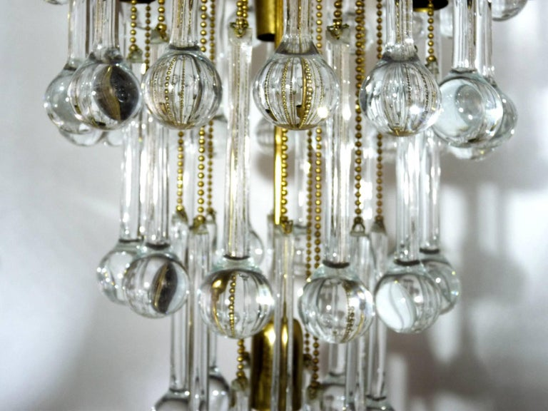 Massive Murano Crystal Glass Drop Waterfall & Gilt Brass Venini Style Chandelier For Sale 1