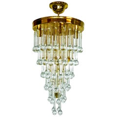 Massive Murano Crystal Glass Drop Waterfall & Gilt Brass Venini Style Chandelier