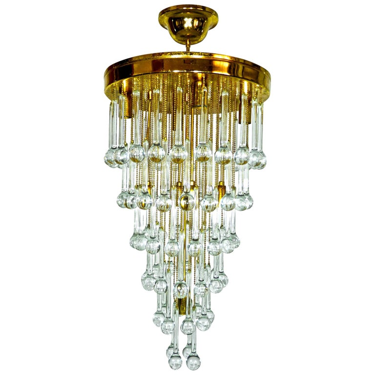 Massive Murano Crystal Glass Drop Waterfall & Gilt Brass Venini Style Chandelier For Sale