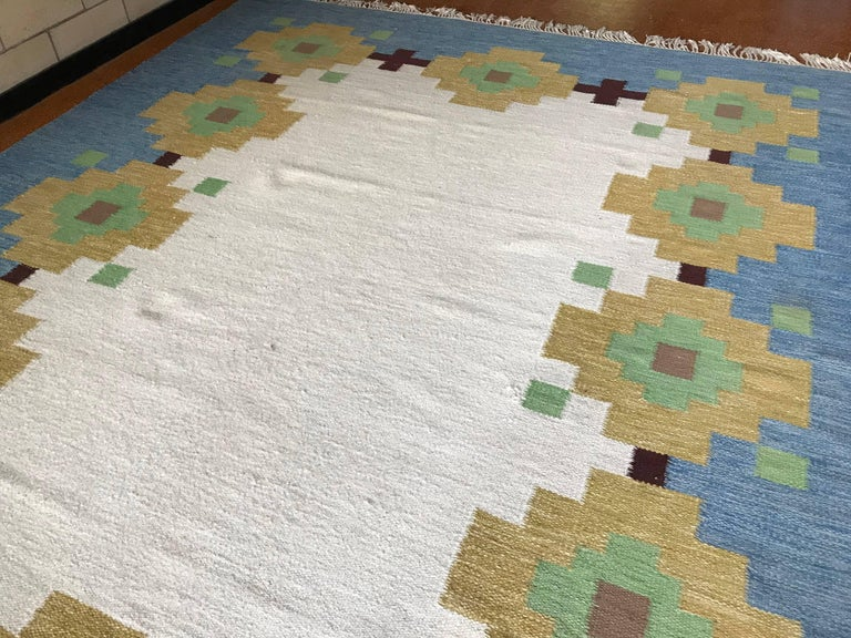 Hand Woven Mive Vintage Geometric Indian Wool Handmade Area Rug Navajo Style 1960s For