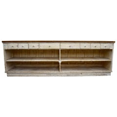 Massive Vintage Painted Pine and Oak Store Counter