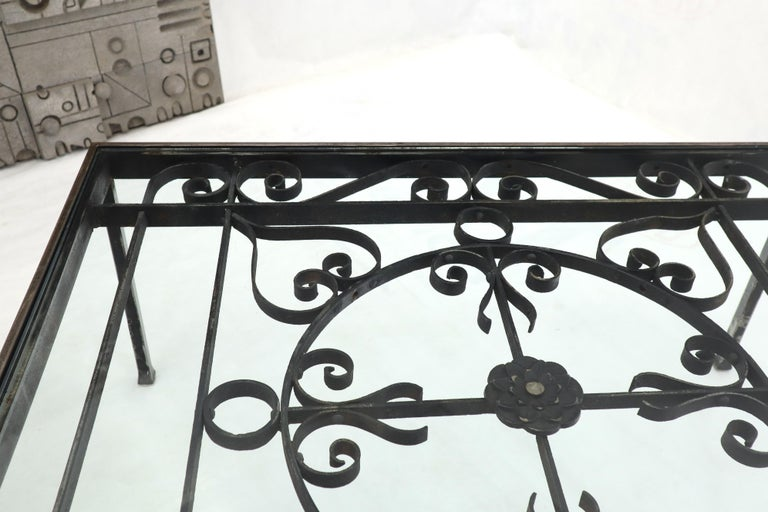 Massive Wide Rectangle Glass Top Wrought Iron Coffee Center Table For Sale 4
