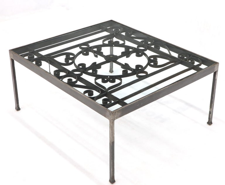 Mid-Century Modern Massive Wide Rectangle Glass Top Wrought Iron Coffee Center Table For Sale