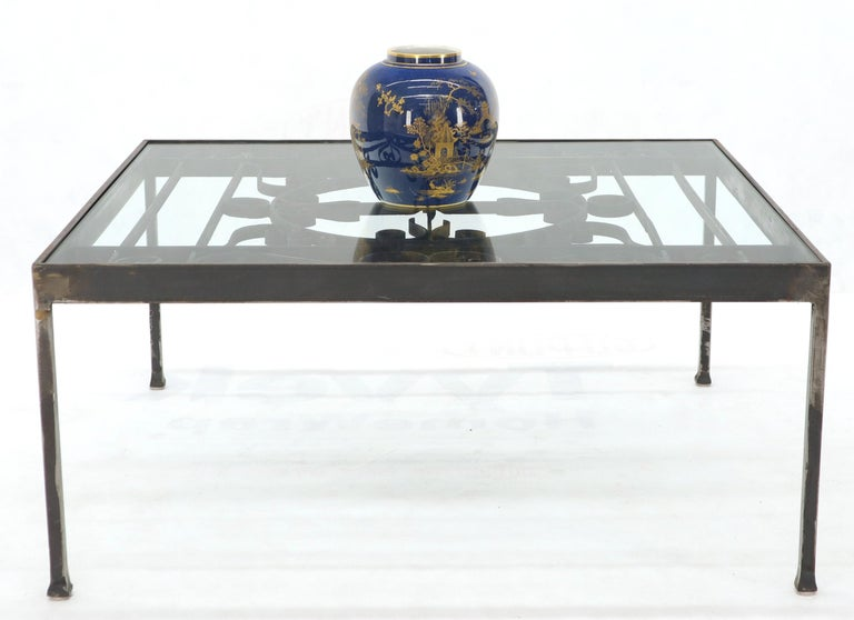 Unknown Massive Wide Rectangle Glass Top Wrought Iron Coffee Center Table For Sale