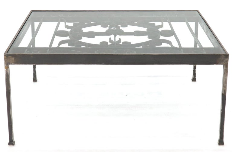 Contemporary Massive Wide Rectangle Glass Top Wrought Iron Coffee Center Table For Sale