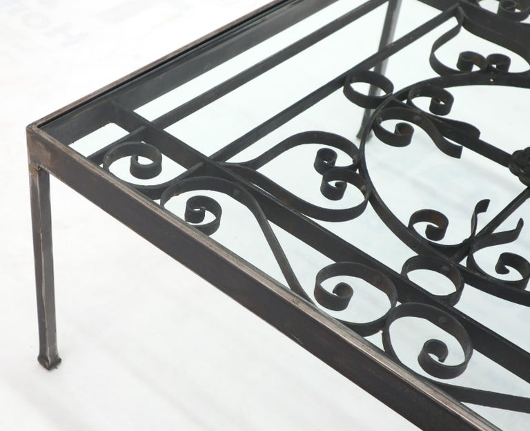 Massive Wide Rectangle Glass Top Wrought Iron Coffee Center Table For Sale 1
