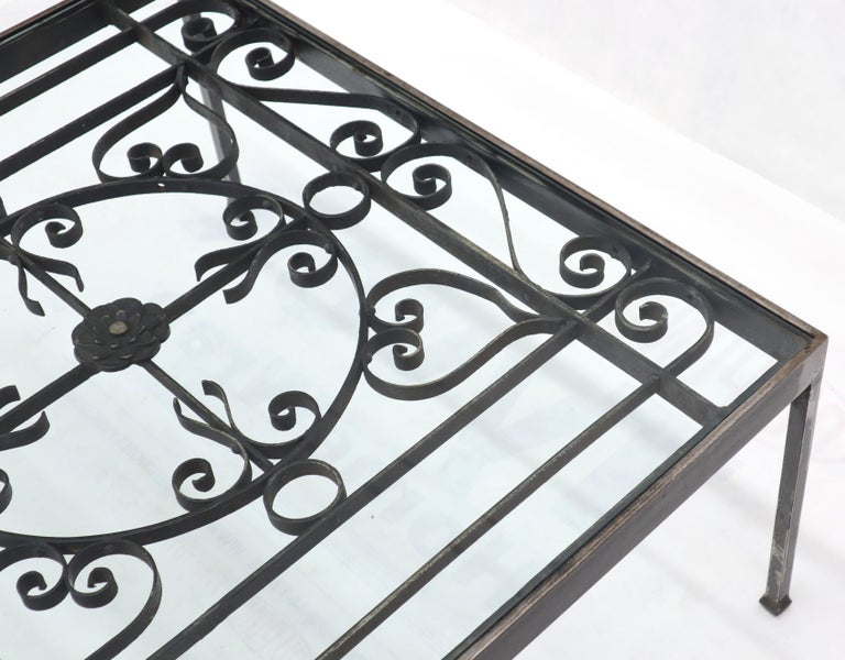 Massive Wide Rectangle Glass Top Wrought Iron Coffee Center Table For Sale 3