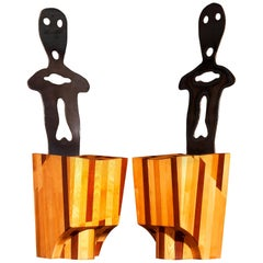 Massive Wood and Metal Pair of Artistic Chairs