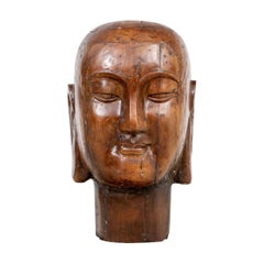 Massive Wood Bust of the Serene Buddha