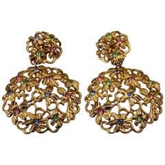 Massive YVES SAINT LAURENT Ysl Openwork Rhinestone Flower Dangling Earrings
