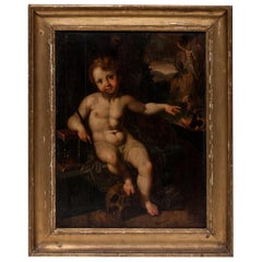 Master Painting Flemish School 16th Century Christ Child and Resurrection