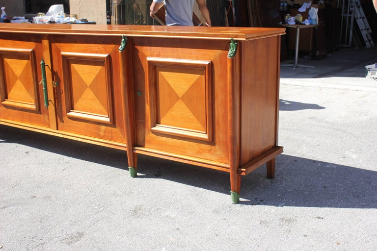 Master Piece French Art Deco Sideboard / Buffet Cherrywood by Leon Jallot, 1930s For Sale 10