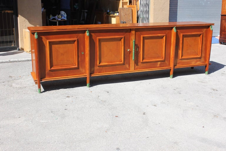 Master Piece French Art Deco Sideboard / Buffet Cherrywood by Leon Jallot, 1930s In Distressed Condition For Sale In Hialeah, FL