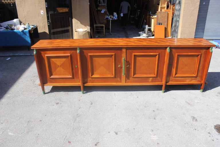 Bronze Master Piece French Art Deco Sideboard / Buffet Cherrywood by Leon Jallot, 1930s For Sale