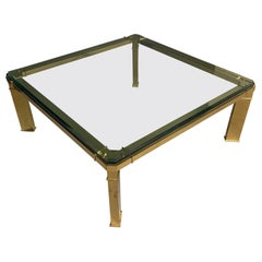 Mastercraft 1980s Brass and Glass Coffee Table Midcentury