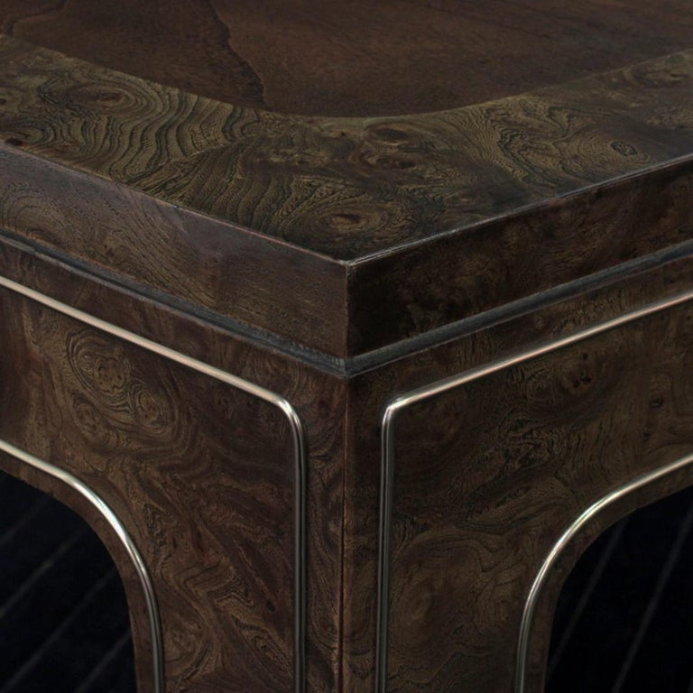 Mastercraft Amboyna & Brass Dining Table In Good Condition For Sale In Highland, IN