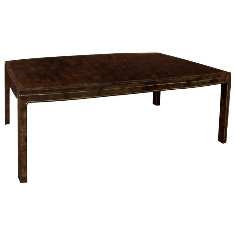 Mastercraft Amboyna & Brass Dining Table For Sale