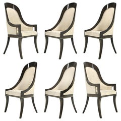 Mastercraft Amboyna & Brass Spoonback Dining Chairs