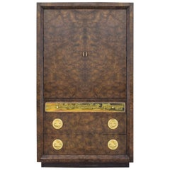 Mastercraft Amboyna Burl and Etched Brass Tallboy Cabinet Chest by Bernard Rohne
