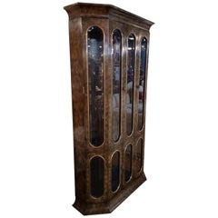 Mastercraft Amboyna Wood and Brass Breakfront/Bookcase
