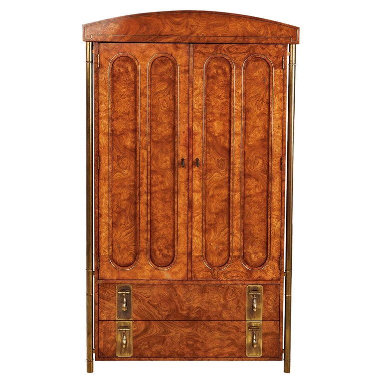 Mastercraft Armoire Chest of Drawers in Burl Wood and Brass, Hollywood Regency For Sale