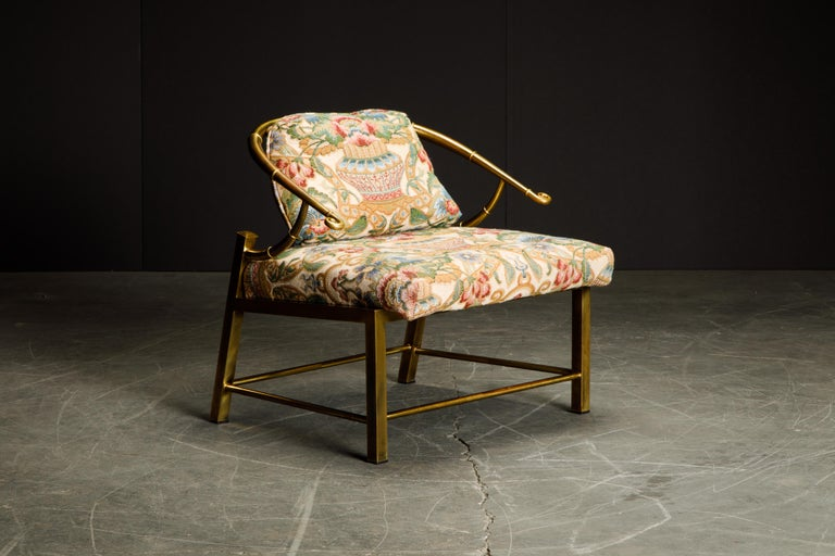 Modern Brass Lounge Chair by Charles Pengally for Mastercraft, c. 1970 Italy For Sale