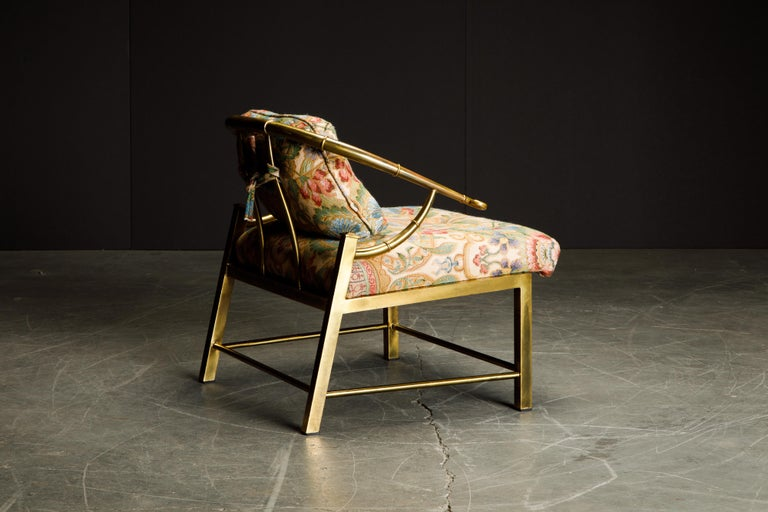 Brass Lounge Chair by Charles Pengally for Mastercraft, c. 1970 Italy In Good Condition For Sale In Los Angeles, CA