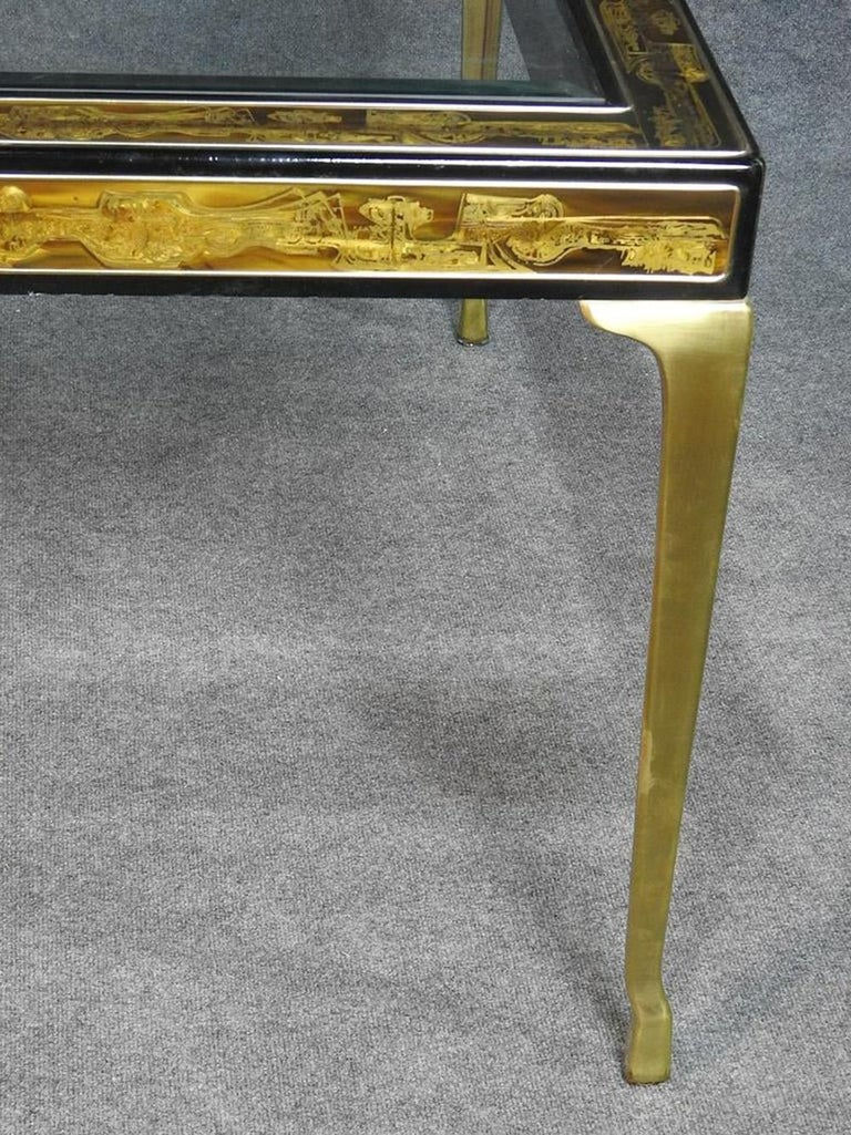 Brass Mastercraft Bernard Rhone Acid Etched Dining Table with Beveled Glass and Leaf For Sale