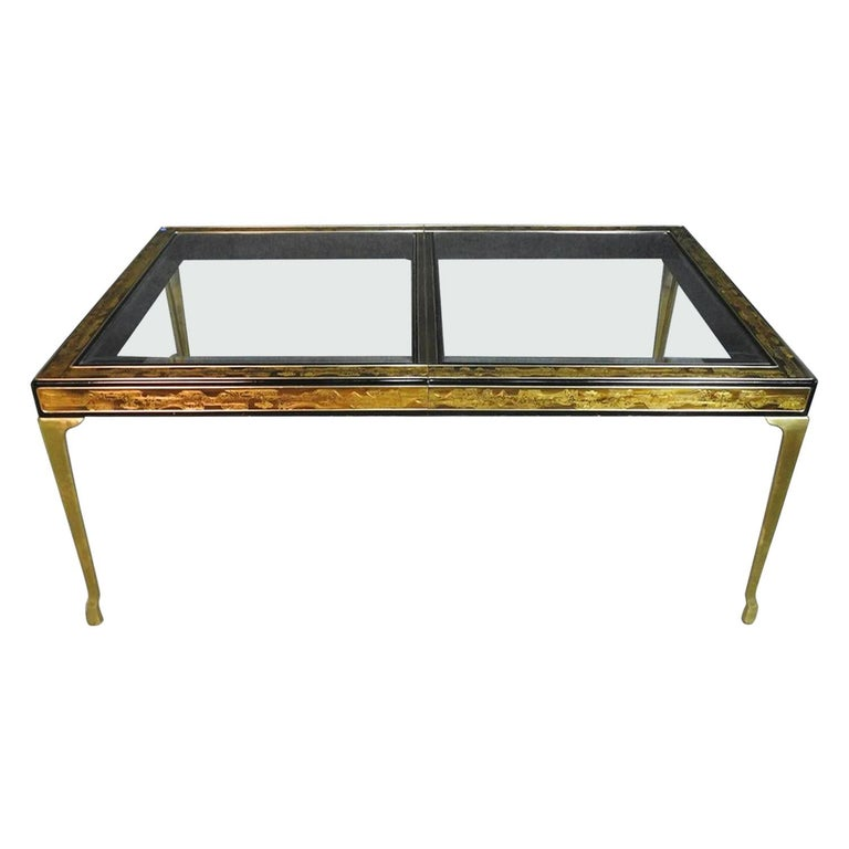 Mastercraft Bernard Rhone Acid Etched Dining Table with Beveled Glass and Leaf For Sale