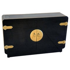 Mastercraft Black Lacquer and Brass Cabinet Credenza