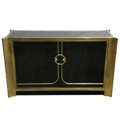Mastercraft Black Lacquer and Brass Credenza