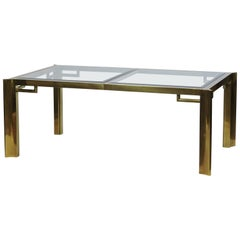 Mastercraft Brass and Beveled Glass Extendable Dining Table by William Doezma