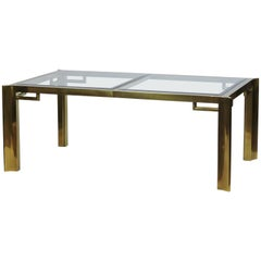 Mastercraft Brass and Bevelled Glass Extendable Dining Table by William Doezma