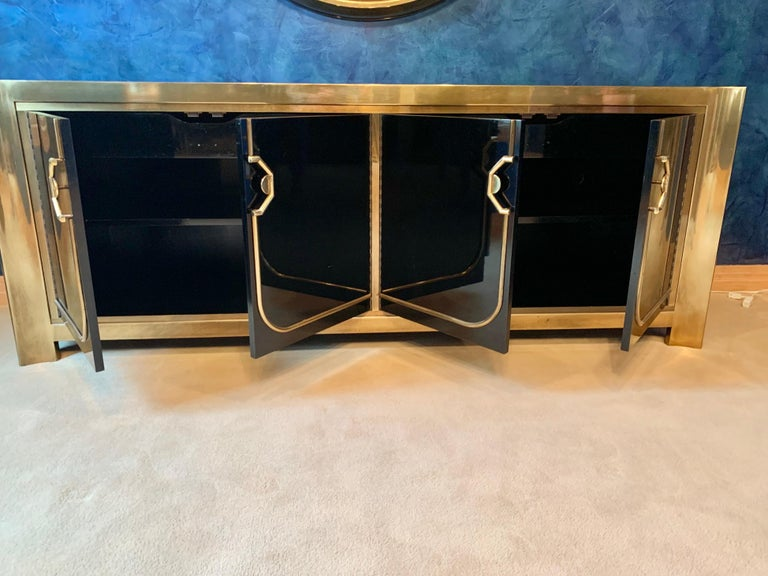 Mastercraft Brass and Black Lacquer Siideboard For Sale 6