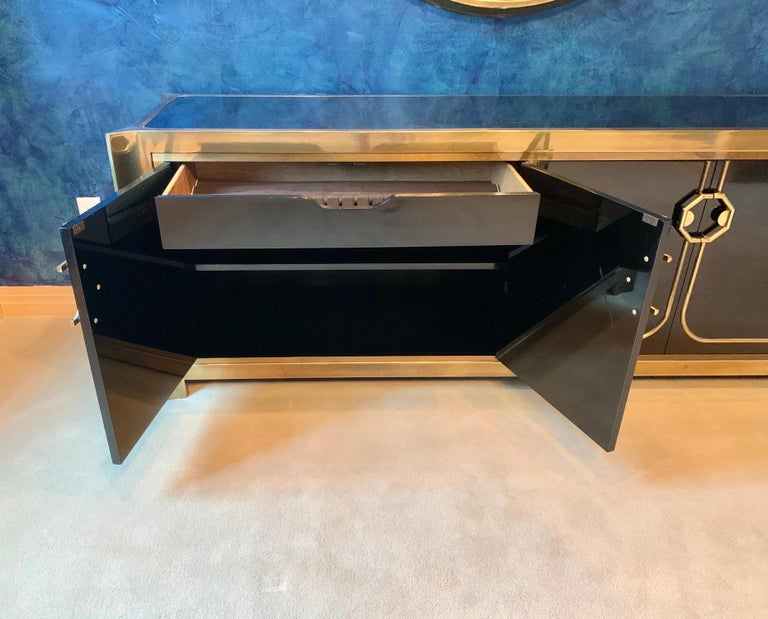 Mastercraft Brass and Black Lacquer Siideboard For Sale 10