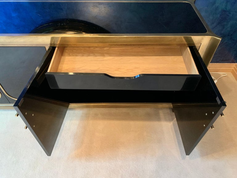 Mastercraft Brass and Black Lacquer Siideboard For Sale 12