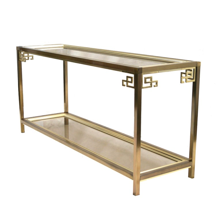 Mastercraft Brass And Glass Console Double Tier Cocktail