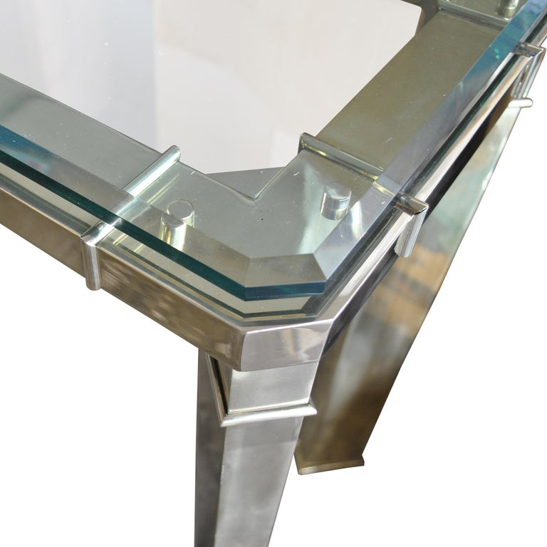 American Mastercraft Brass And Glass Console Sofa Table For Sale