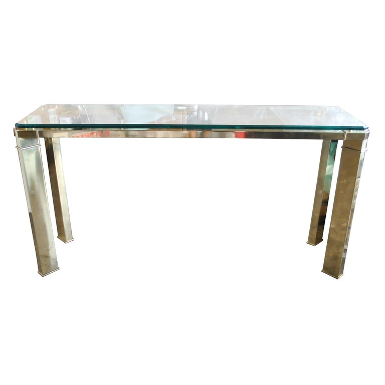 Mid-20th Century Mastercraft Brass And Glass Console Sofa Table For Sale