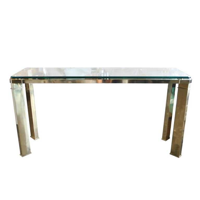 Mastercraft Brass And Glass Console Sofa Table For Sale 1