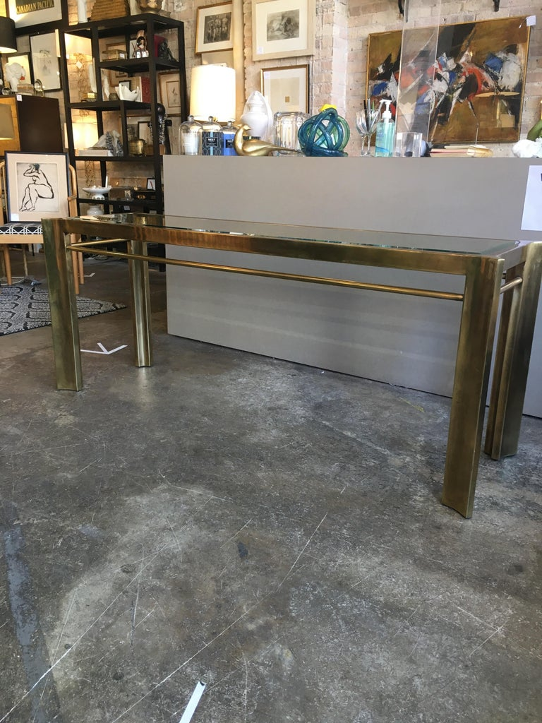 Mastercraft Brass and Glass Console Table 1