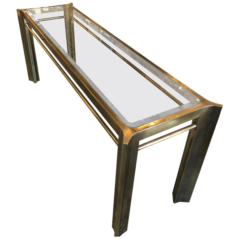 Mastercraft Brass and Glass Console Table