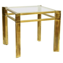 Mastercraft Brass and Glass Side Table